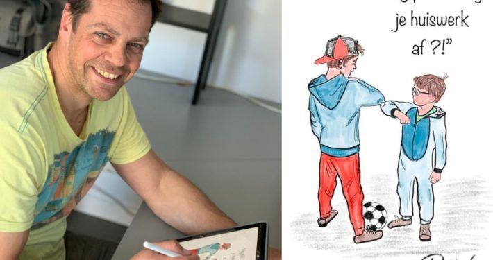 Robbie Heideman uit Grou ziet illustraties in krant verschijnen