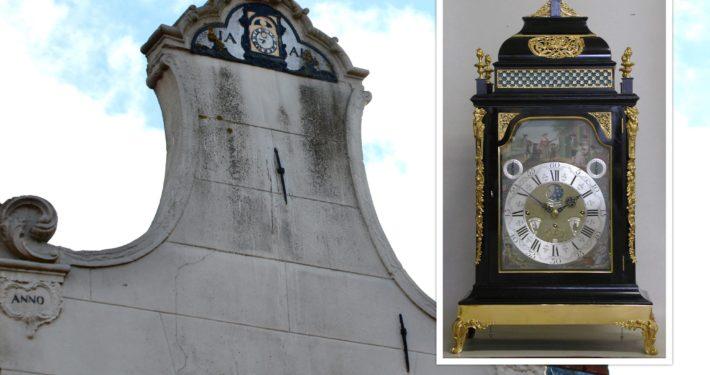 Klok met gevel klokkenmakerij Grou