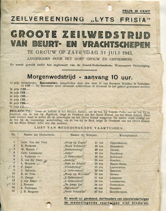 Wedstrijdzeilen 31 juli 1943 in Grouw