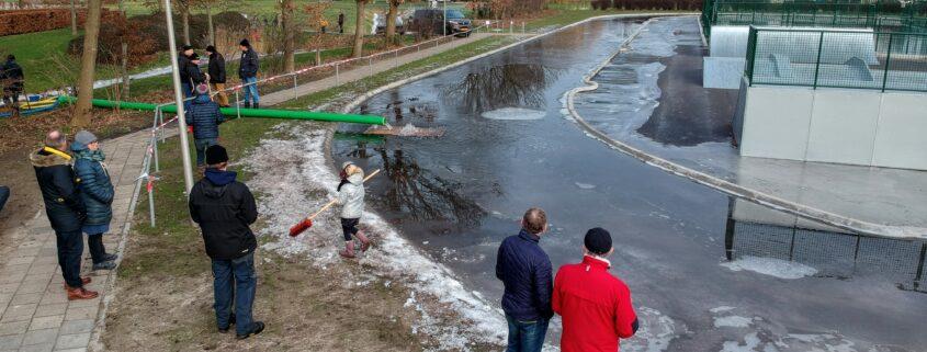 werkzaamheden aan de ijsbaan