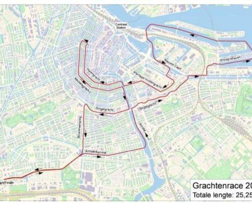 De route door de grachten van Amsterdam